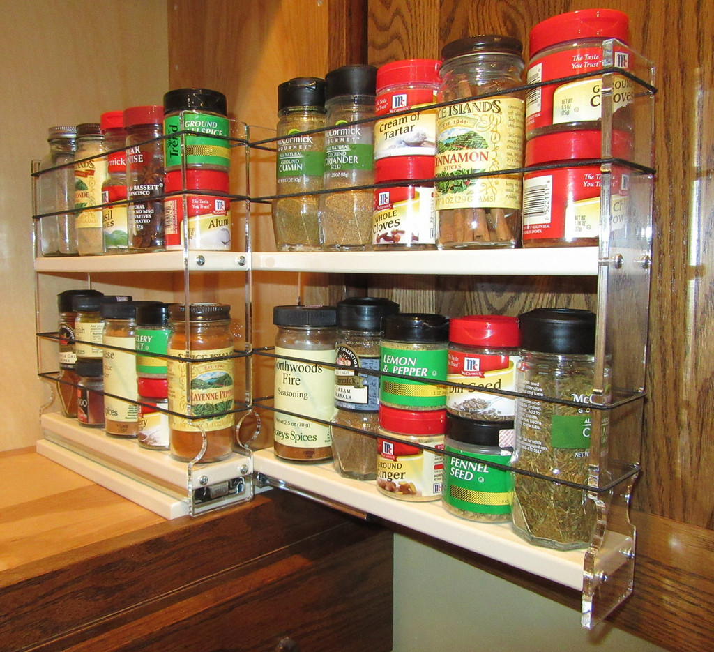 Spice Rack 22 x 2 x 11, Cream - One of two drawers extended