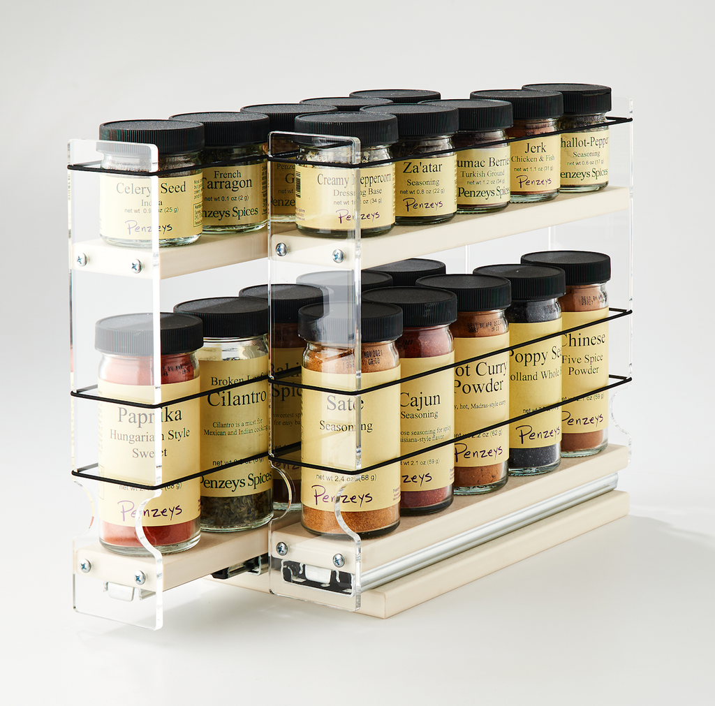 22x1.5x11 Spice Rack Cream 2 Independent Drawers for Spice Organization