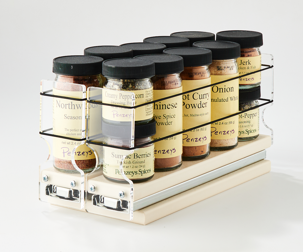 "Spice Rack 22 x 1 x 11, Cream Unit: 4.6"" wide x 5.0"" tall x 10.6"" depth Drawers: (2) 2.1"" wide x 10.05"" long"
