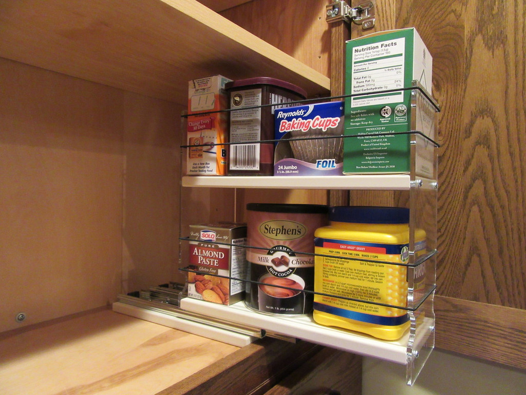 Spice Rack 4 x 2 x 11, Cream - Drawer Partially Extended