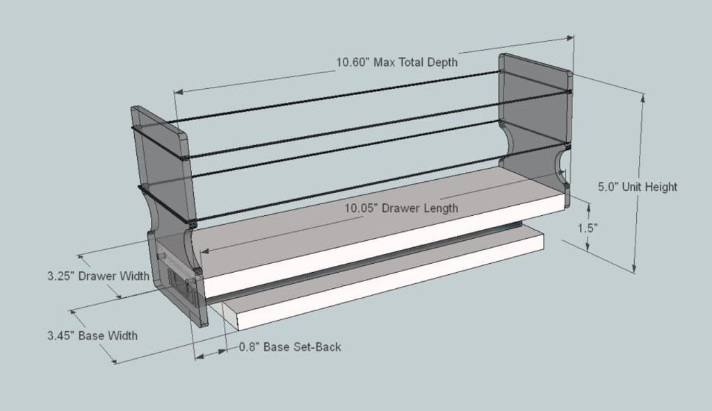 Storage Organizer Drawer - Dimensioned