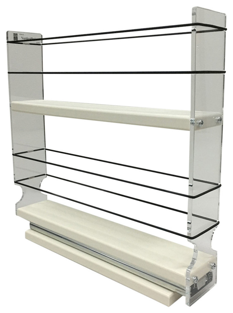 "Spice Rack 2x2x11, Cream Unit: 2.3"" wide x 10.75"" tall x 10.6"" depth Drawers: (1) 2.1"" wide x 10.05"" long"