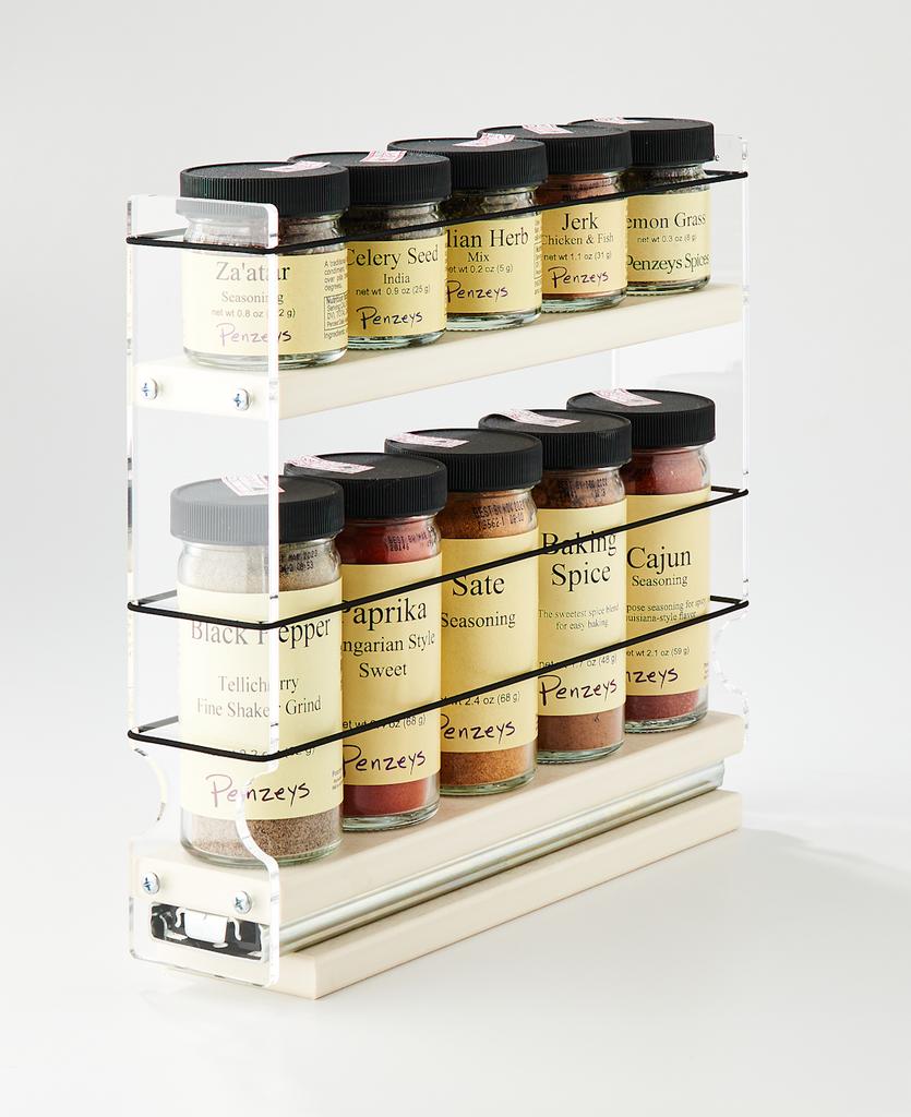 2x1.5x11 Spice Rack Cream - Organize 5 Full Sized Spice Jars and 5 1/2 Sized Jars