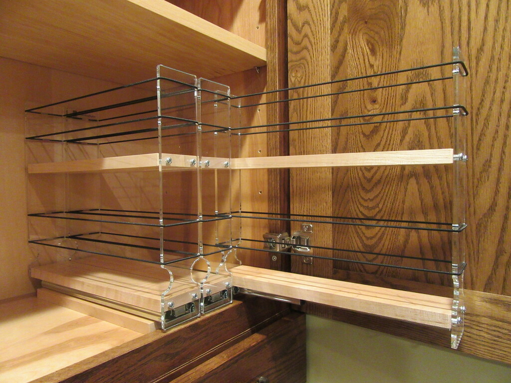 222x2x11 Spice Rack, Maple Empty Drawer Out