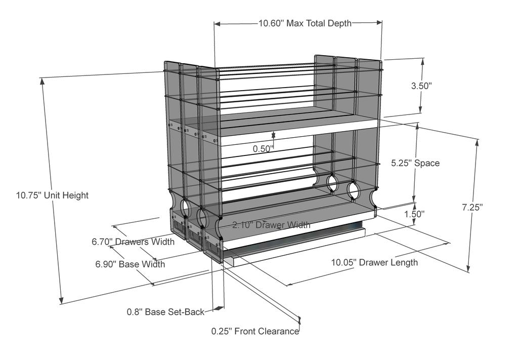 222x2x11 Spice Rack - Dimensioned