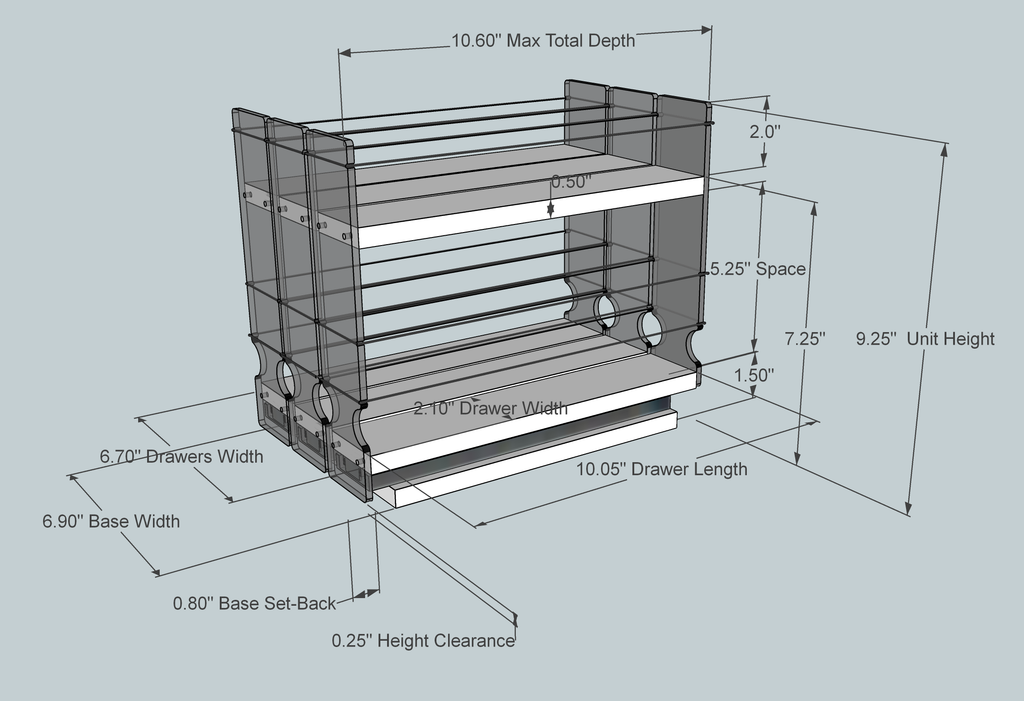 222x1.5x11 Spice Rack - Dimensioned