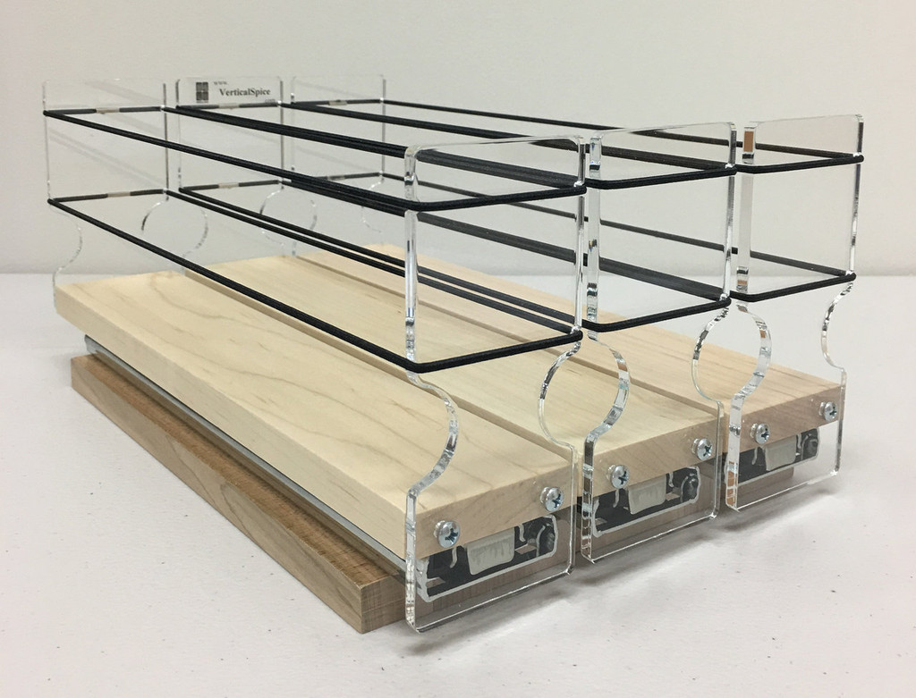 "Spice Rack 222x1x11, Maple Unit: 6.9"" wide x 5.0"" tall x 10.6"" depth Drawers: (3) 2.1"" wide x 10.05"" long"
