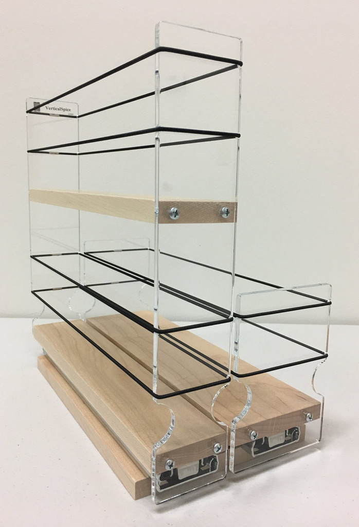 """23x2x11 Spice Rack Combo Drawers, Maple Unit: 5.75"""" wide x 10.75"""" tall x 10.6"""" depth Drawers: (1) 2.1"""" wide x 10.05"""" long and (1) 3.25"""" wide x 10.05"""" long"""