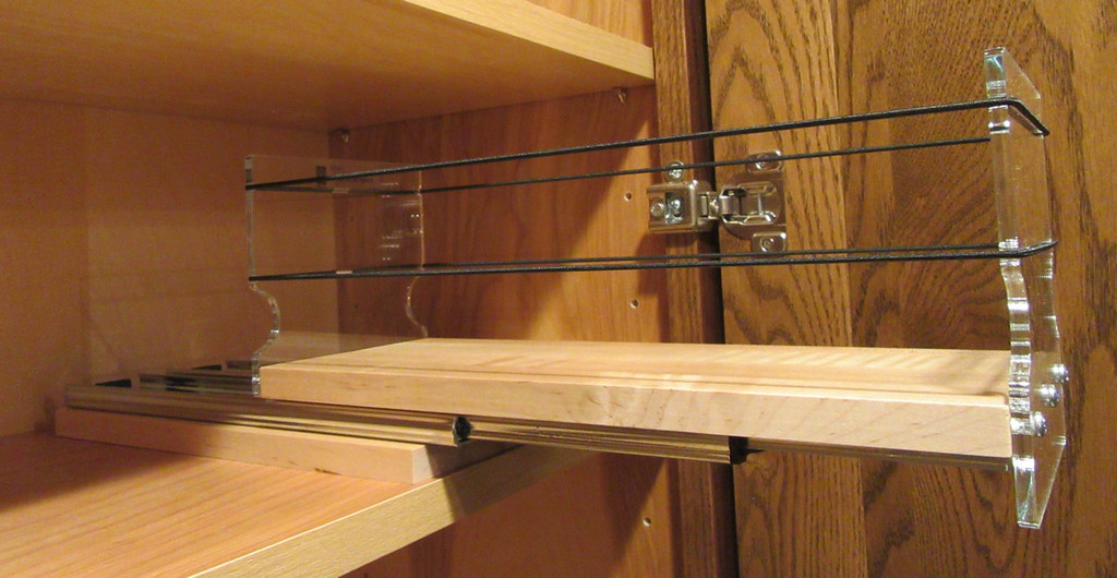 4x1x11 Spice Rack, Maple - Empty Drawer Out