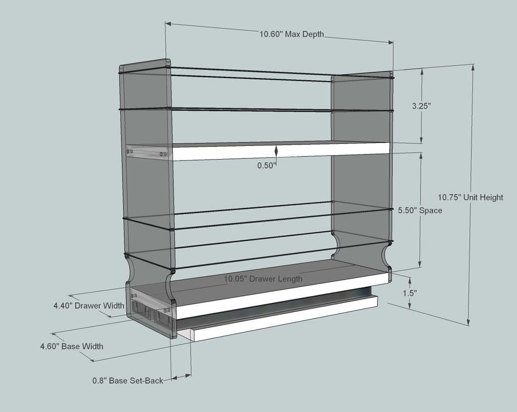 4x1x11 Spice Rack, Maple - Dimensioned