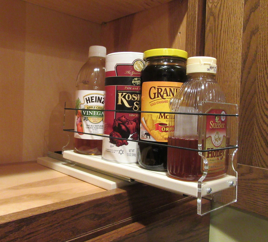 3x1x11 Spice Rack, Maple - Loaded Drawer Partially Out