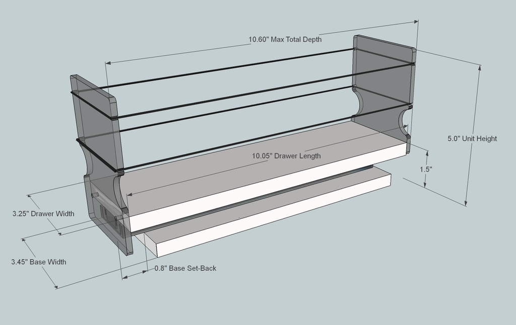 3x1x11 Spice Rack, Maple - Dimensioned
