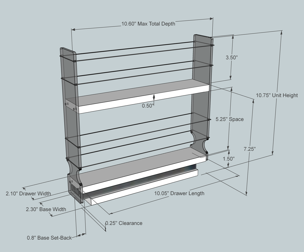 2x2x11 Spice Rack - Dimensioned