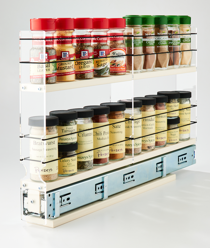 2x2x22 Spice Rack Drawer Cream - Store 20+ Spice Jars in Compact Space