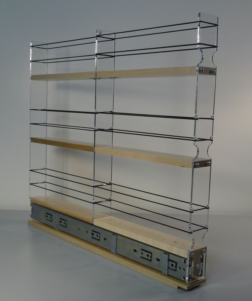 "2x3x22 Spice Rack Drawer - Maple Unit: 2.3"" wide x 19.52"" tall x 22"" depth Drawers: (1) 2 sections each 2.1"" wide x 10.7"" long"