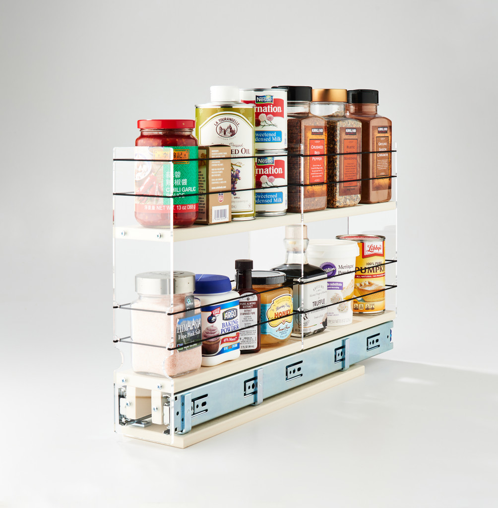 3x2x22 Spice Rack Drawer - Full Depth Cabinet Organization of Multiple Sized Containers
