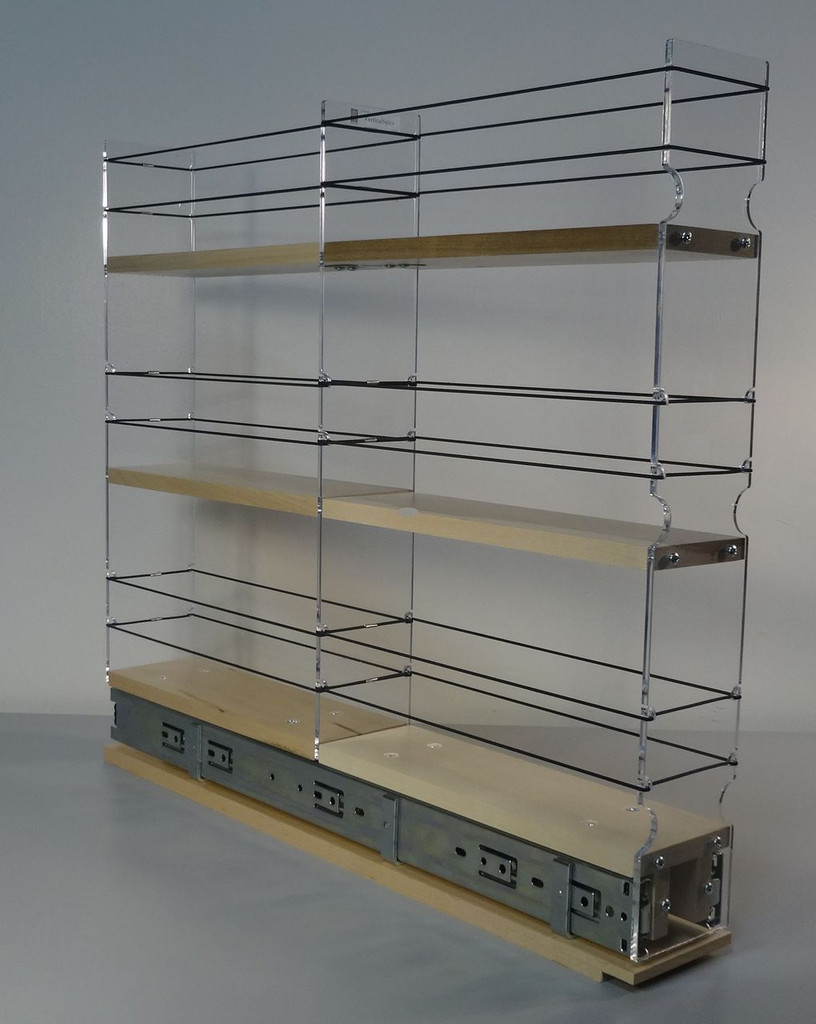 "3x3x22 Spice Rack Drawer - Maple Unit: 3.45"" wide x 19.52"" tall x 22.1"" depth Drawers: (1) 2 sections each 3.25"" wide x 10.7"" long"