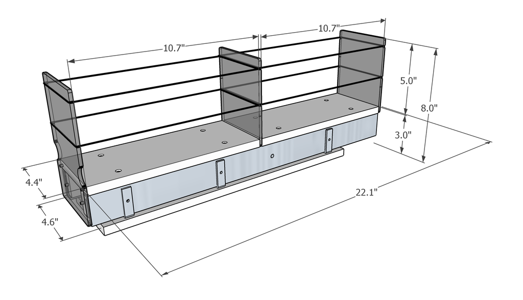 Spice Rack 4x1x22 - Dimensions