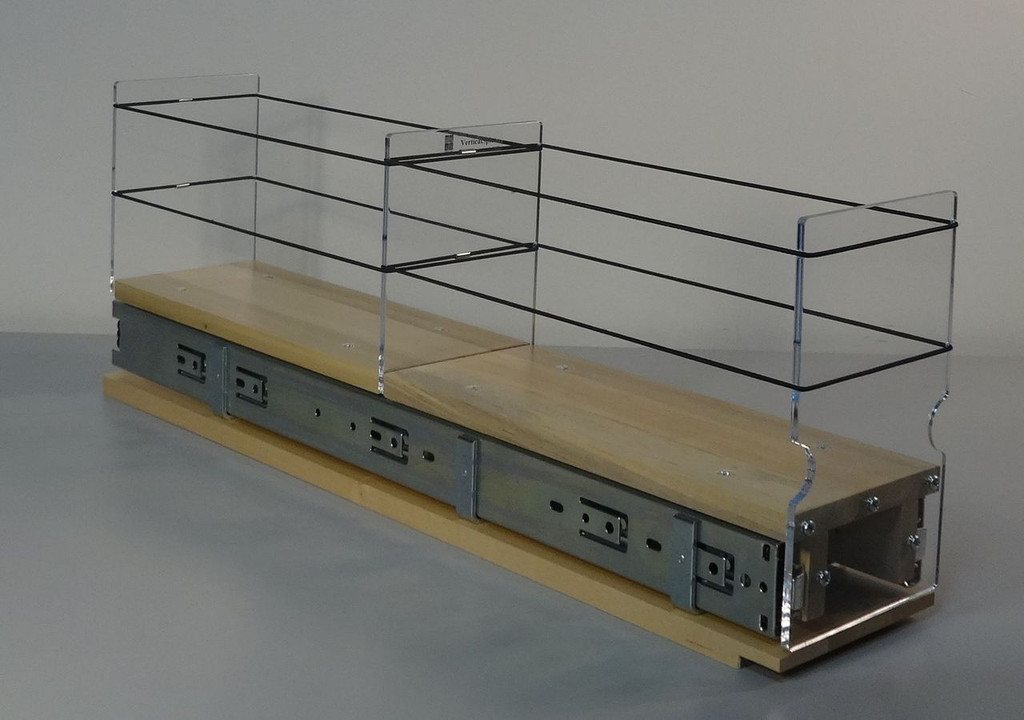 """Spice Rack 4x1x22, Maple Unit: 4.6"""" wide x 8.0"""" tall x 22"""" depth Drawers: (1) 2 sections each 4.4"""" wide x 10.7"""" long"""