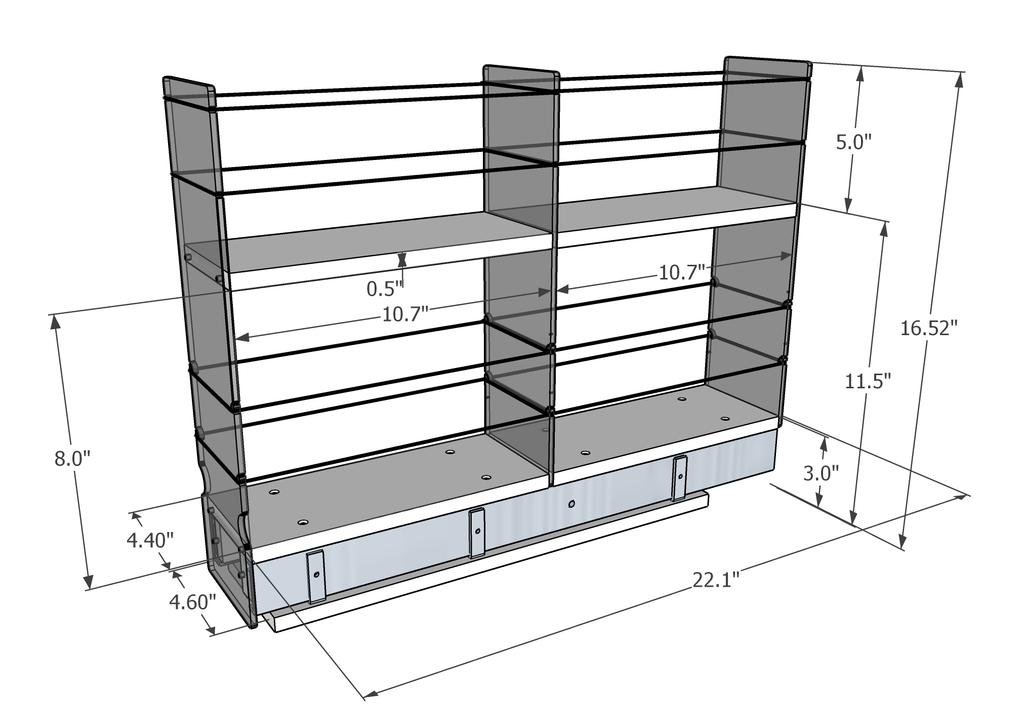 4x2x22 Storage Solution Drawer - Dimensioned