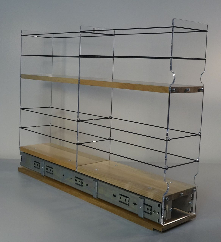 "4x2x22 Storage Solution Drawer - Maple Unit: 4.6"" wide x 16.52"" tall x 22.1"" depth Drawers: (1) 2 sections each 4.4"" wide x 10.7"" long"