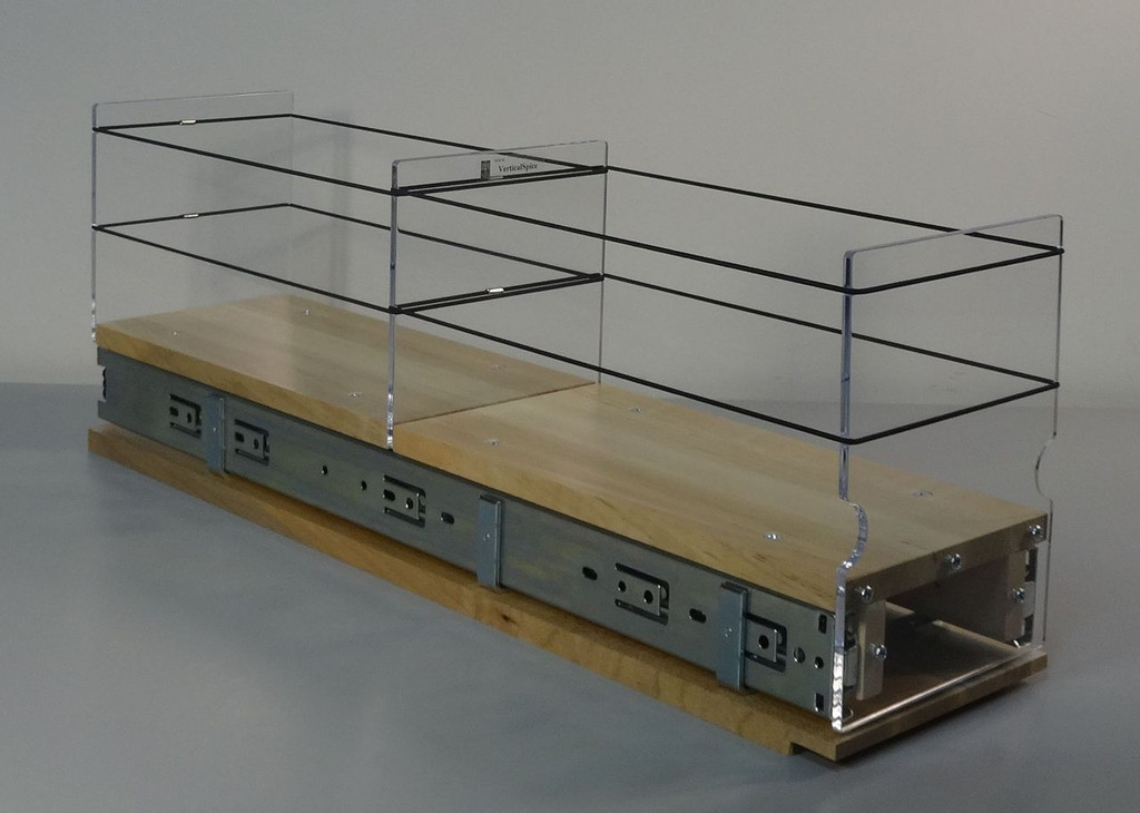 "Spice Rack 5x1x22, Maple Unit: 5.75"" wide x 8.0"" tall x 22"" depth Drawers: (1) 2 sections each 5.55"" wide x 10.7"" long"