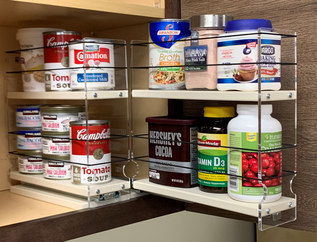 Spice Rack 33x2x11, Cream, Full Drawer Pulled Out