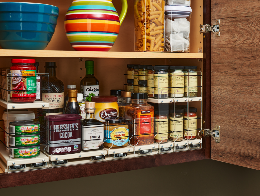 A Variety of Vertical SPice Organization Drawers for Complete Cabinet Organization