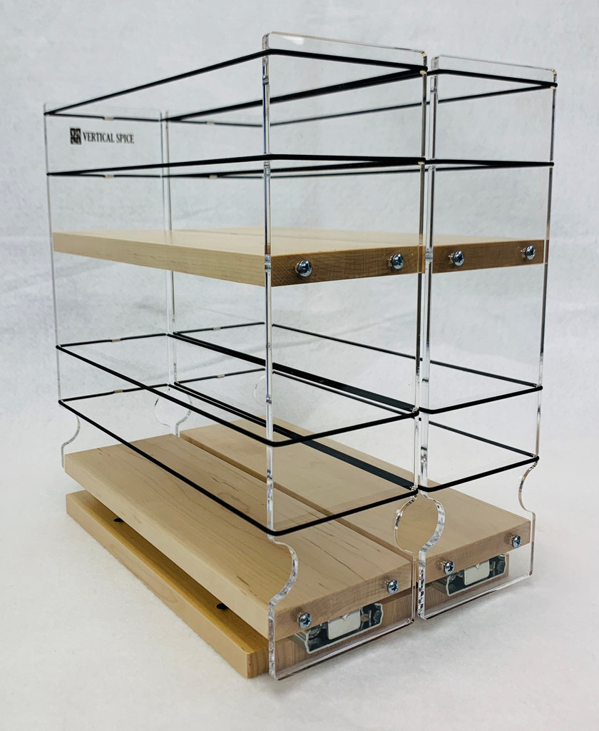 "Spice Rack 33x2x11, Maple Unit: 6.9"" wide x 10.75"" tall x 10.6"" depth Drawers: (2) 3.25"" wide x 10.05"" long"