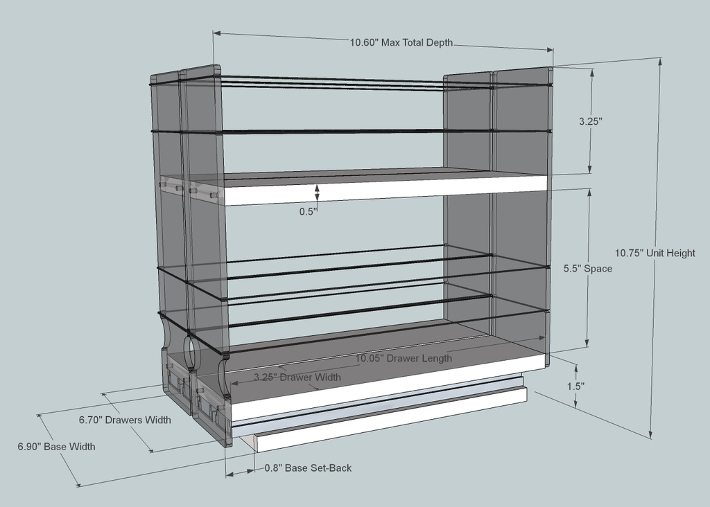 Spice Rack 33x2x11, Maple- Dimensioned