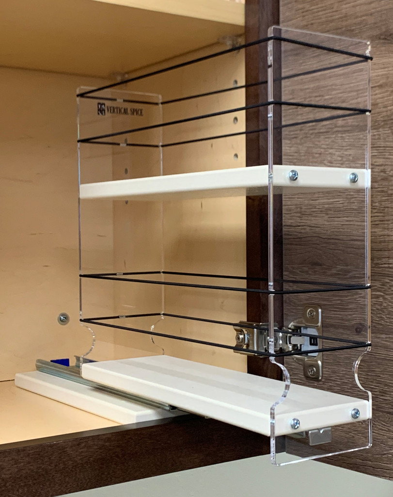 Spice Rack 3 x 2 x 11, Cream, Drawer Partially Out