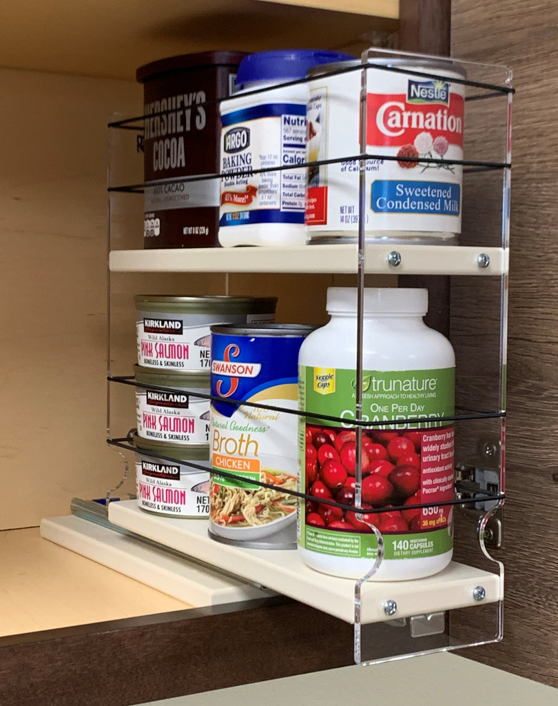 Spice Rack 3 x 2 x 11, Cream, Drawers Full and Partially Out