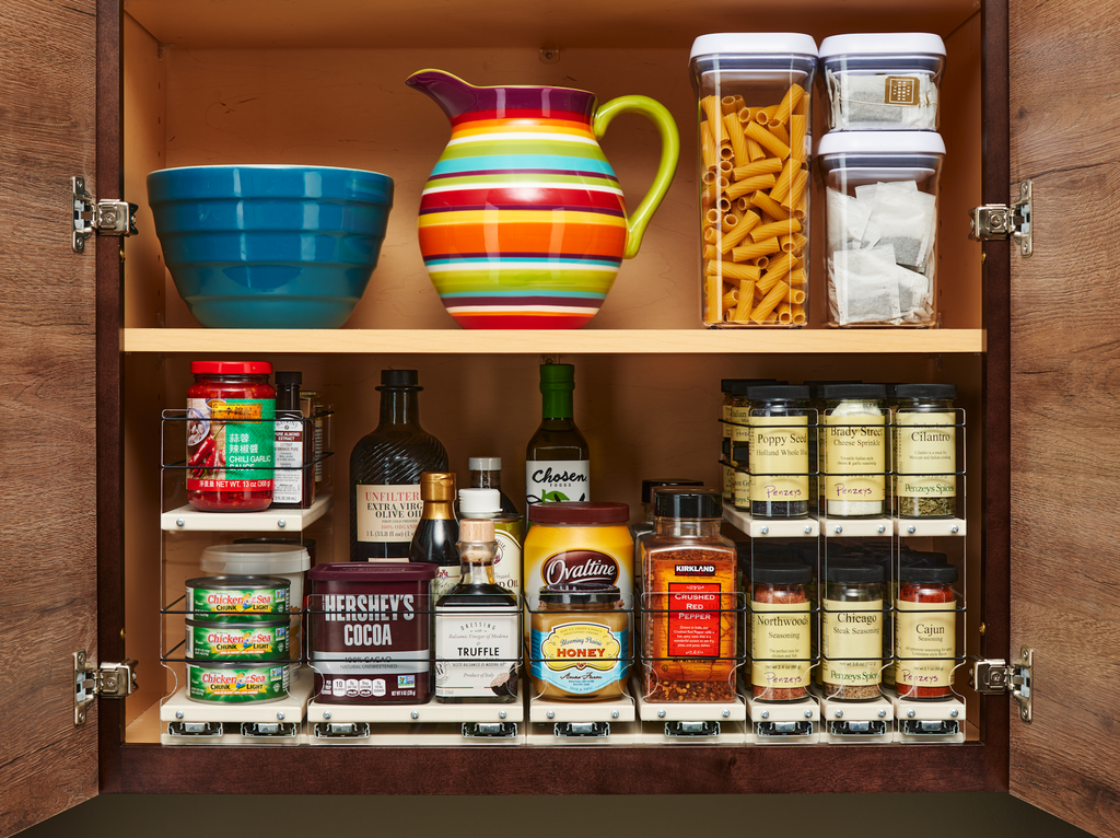 x11 Depth Vertical SPice Units Used in Combination for Complete Cabinet Organization