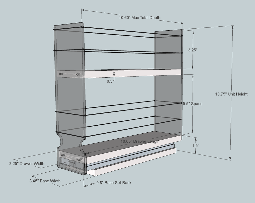 Spice Rack 3x2x11 - Dimensioned