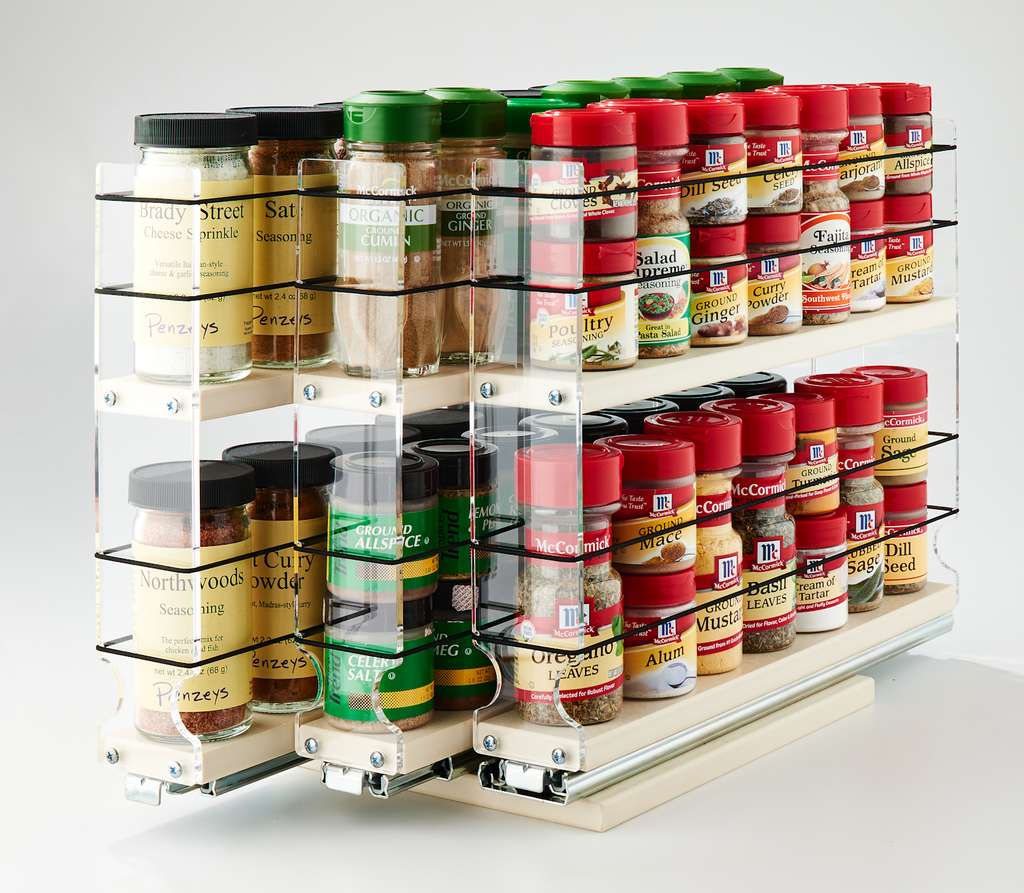 222x2x14 Spice Rack Cream 3 Independent Draers to Find Each Row of Spices