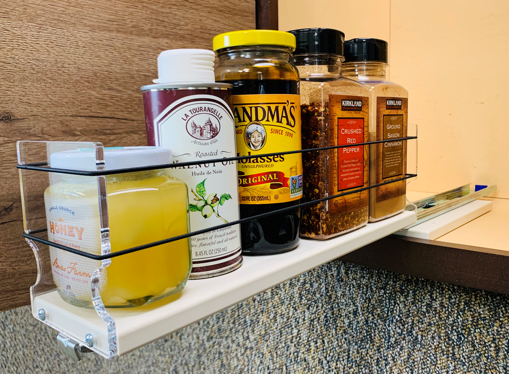 """3x1x14 Spice Rack Drawer - by Vertical Spice Full extension drawer Unit: 3.45"""" wide x 5.0"""" tall x 13.8"""" depth Drawers: (1) 3.25"""" wide x 13.25"""" long"""