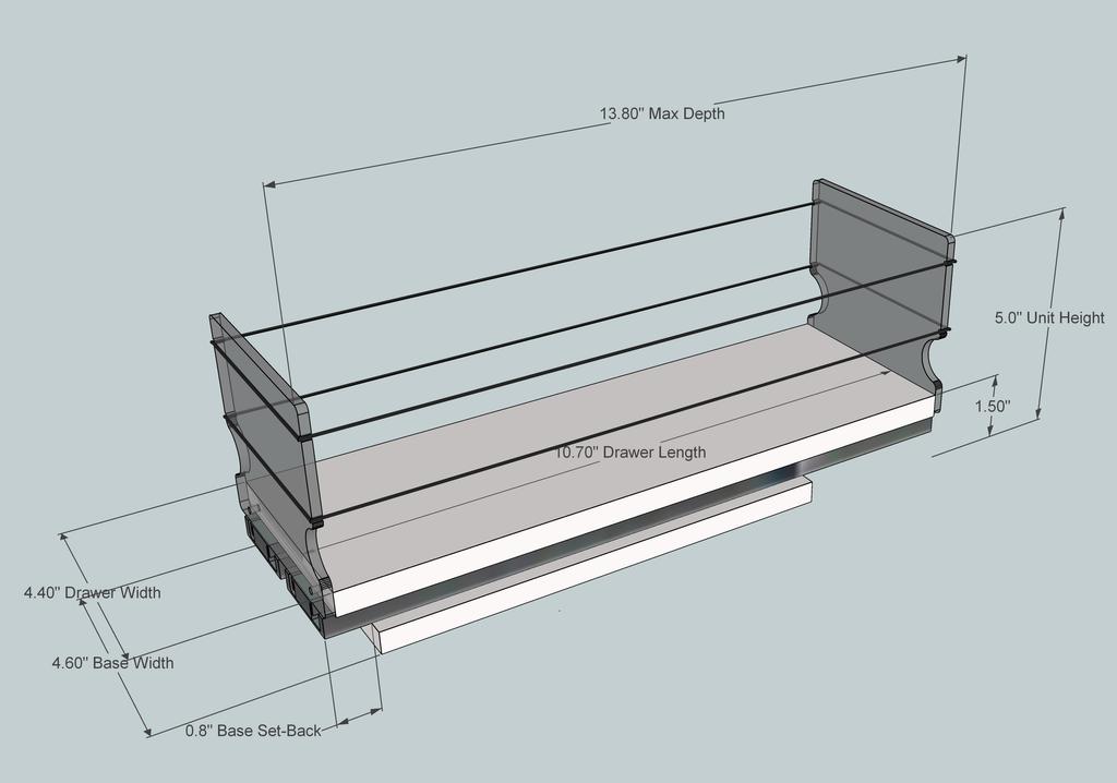 4x1x14 Cream Storage Solution Drawer - Dimensioned