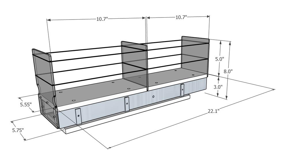 5x1x22 Storage Solution Drawer - Dimensioned