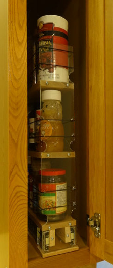 3x3x22 Spice Rack Drawer- Maple, In cabinet, full