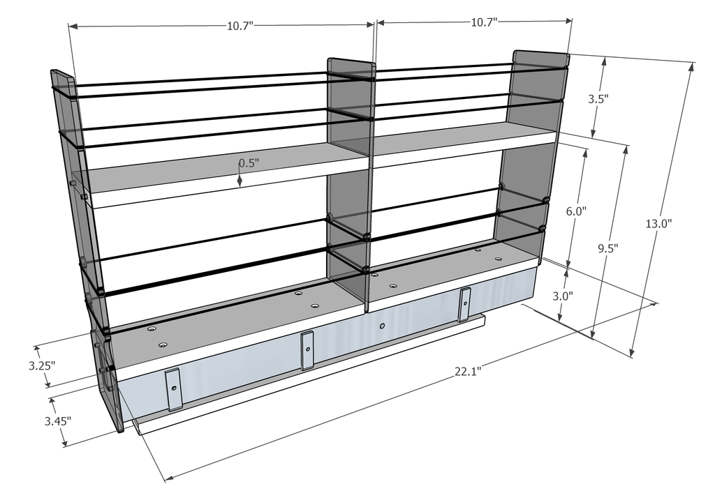 3x2x22 Spice Rack Drawer -  Dimensioned