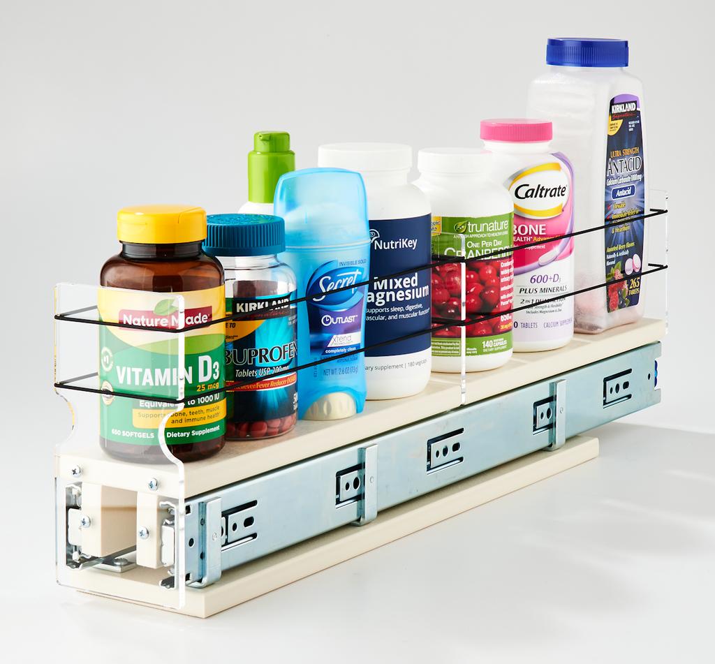 3x1x22 Spice Rack Drawer Cream - Versatile Organization
