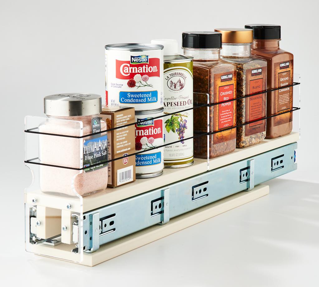 3x1x22 Spice Rack Drawer Cream