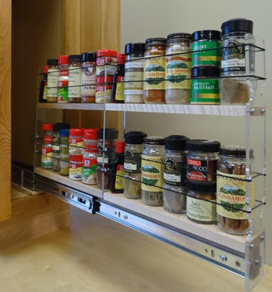 """2x2x22 Spice Rack Drawer - Maple, Extended, Full Unit: 2.3"""" wide x 13.0"""" tall x 22"""" depth Drawers: (1) 2 sections each 2.1"""" wide x 10.7"""" long"""