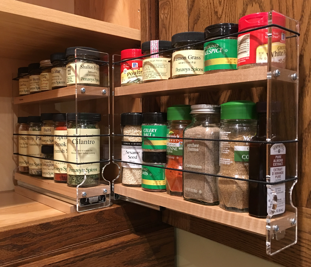 Spice Rack 22 x 1.5 x 11, Maple - Full extension drawers
