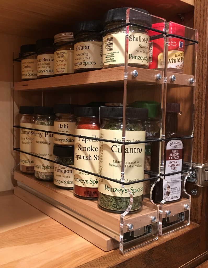 Spice Rack 22 x 1.5 x 11, Maple - Compact cabinet storage with full access ball-bearing slides
