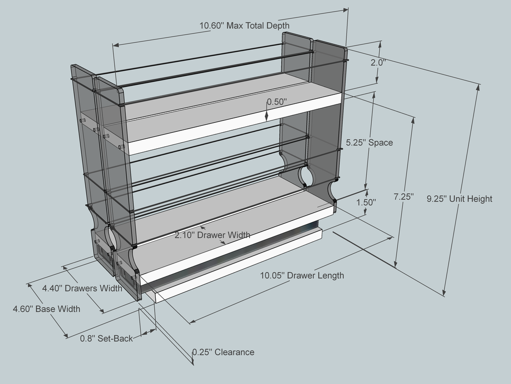 Spice Rack 22 x 1.5 x 11, Maple - Dimensioned