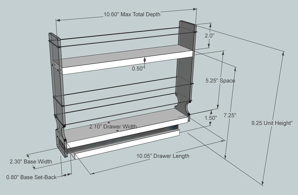 Spice Rack 2x1.5x11 - Dimensioned