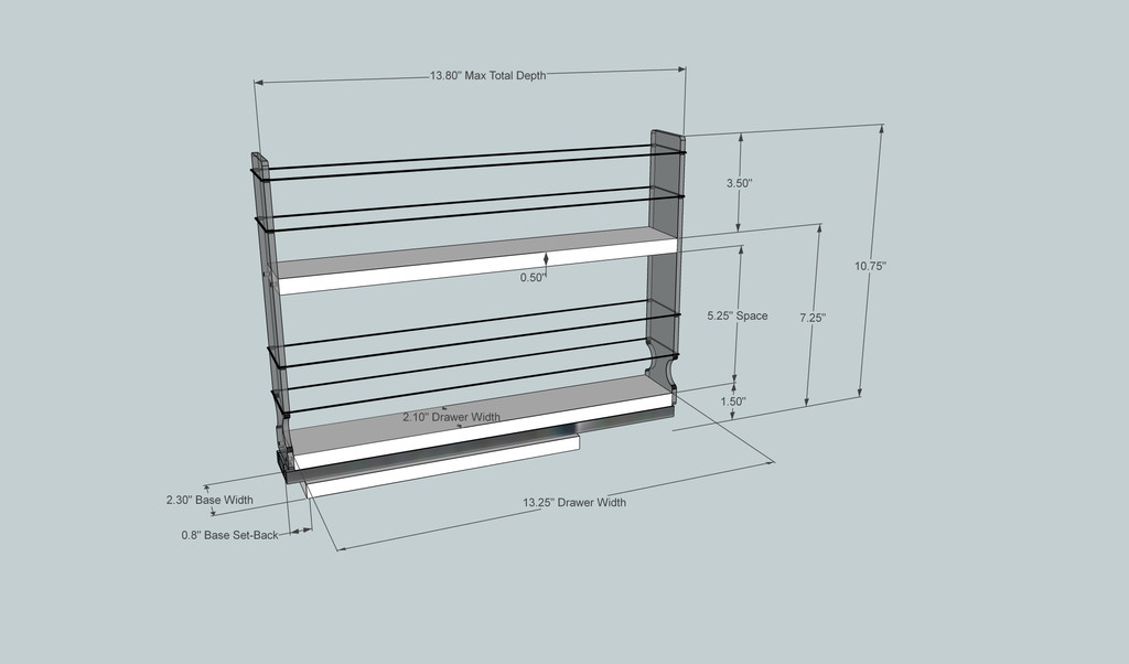 2x2x14 Spice Rack Dimensioned