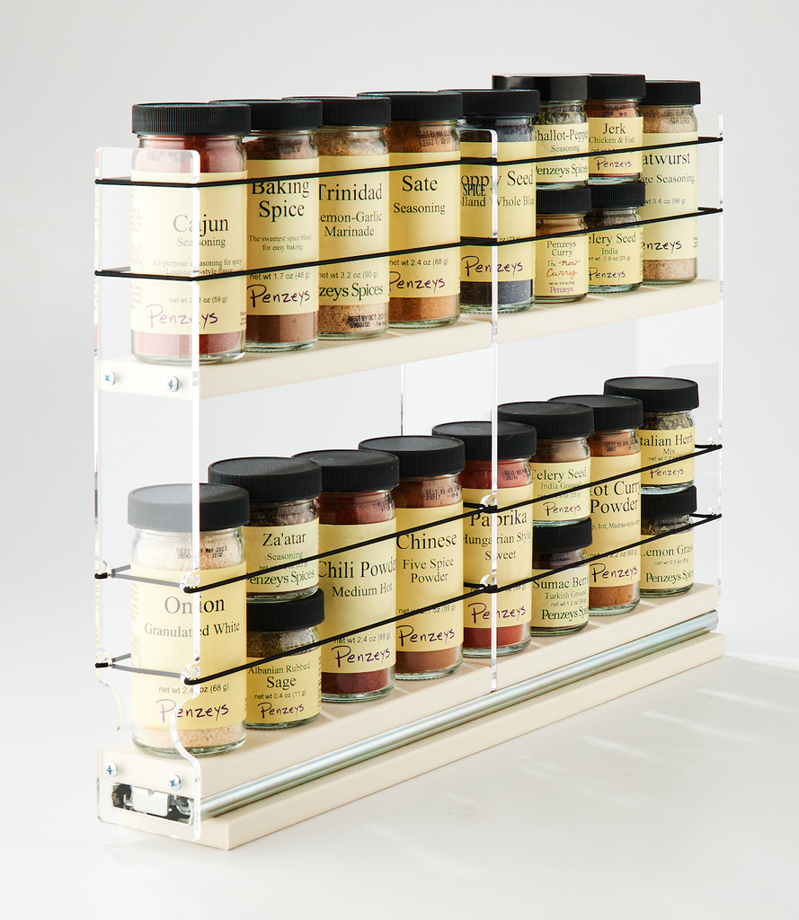 2x1x18 Spice Rack Drawer Cream - Compact Storage Space for 16 Spice Jars