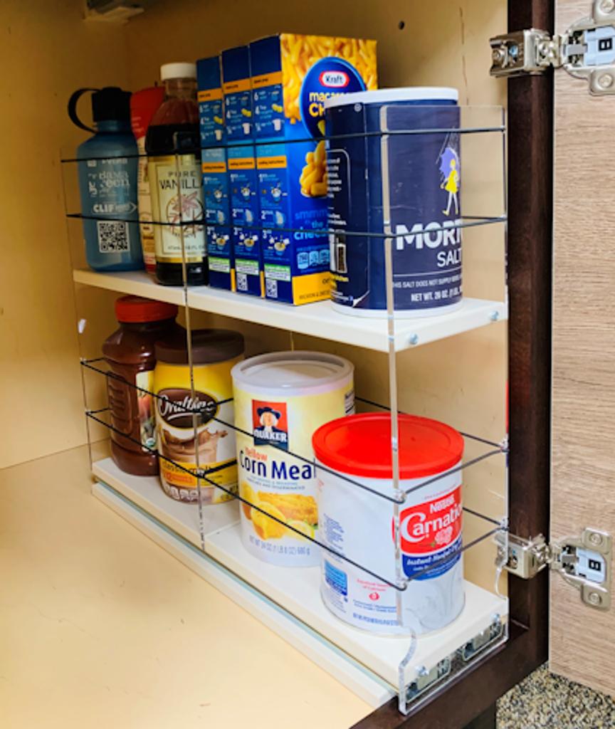 4 x 2 x 18 Storage Solution Drawer, Cream - Full Depth Deep Cabinet Access